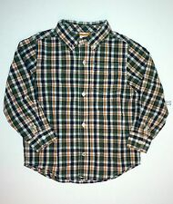 Gymboree Football Champ Green Checked Plaid Button Up Shirt Top Boys 3T NEW NWT
