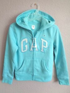 New Gap Kids Hoodie Hooded Sweater Fleece Girls 6-7 8-9 10-11 12 13 Light Blue