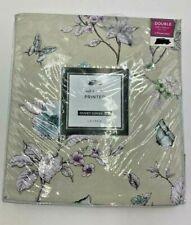 Lauren Double Duvet Cover Set Printed Green Soft Handle Floral Pillowcases New