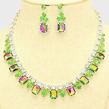 GREEN    BRIDAL  FLORAL  RECTANGLE CRYSTAL/RHINESTONE NECKLACE / EARRING SET 5B7