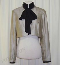BEAUTIFUL SASS&BIDE SILVER GREY PUSSY BOW CROPPED JACKET 40/4 (AUS 8/10)