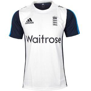 Adidas Waitrose Cricket England T-Shirt Men's Jersey Sports Running White/Blue