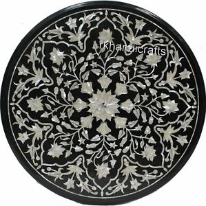 """24"""" Black Marble Coffee Table Top with Mother of Pearl Sofa Table Marquetry Art"""
