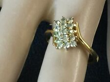 18K  Yellow Gold Plated Ring with Cubic Zirconias,Vintage