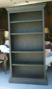"""Restoration Hardware French 90"""" High Bookcase Black Oak Driftwood Finish"""