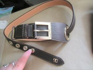 """Dolce & Gabbana D&G leather belt  Made in Italy. 36""""  90 cms. Black gold vgc"""