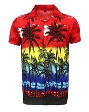 Mens Hawaiian Shirt Stag Beach Hawaii Aloha Party Summer Holiday Fancy S -xxl D1 Red Palm XL