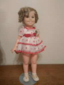 1972 Shirley Temple Doll with Polka Dot Dress 16 inch with white shoes and pin