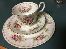 Royal Albert June Pink Roses floral fine bone china Tea Cup, Saucer Salad Plate