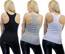 Damen Tank Top Hemd Shirt Ringerrücken X Form schwarz weiss hellgrau Slim Fit