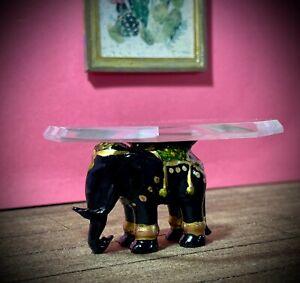 1:12 Dollhouse miniature black elephant coffee table like porcelain glass top