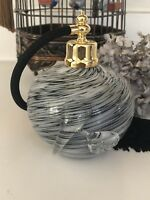 Beautiful Hand crafted,blown art glass perfume bottle Atomizer In Black, New