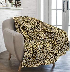 Cheetah Print Fleece Throw Blanket Leopard Animal Soft Microfiber for Sofa Couch