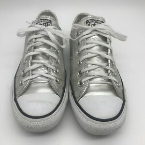 WOMENS CONVERSE UK 5 EU 37 PEWTER METALLIC SILVER LACE UP LOW TOP PUMPS TRAINERS