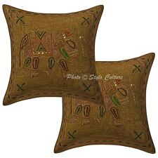Gold Zari Embroidered Cushion Cover Indian Decorative Throw Pillowcase Cover 16