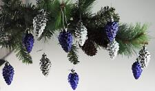 Set Of 16 Purple / Silver Pine Cone Christmas Tree Bauble Decorations