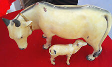 Old Early Rare Terracotta Clay Religious Animal Cow & Calf Figure Toy Pottery