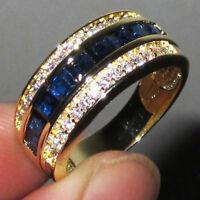 FJ- EG_ Fashion Women Men Shiny Rhinestone Bridal Engagement Band Ring Jewelry U