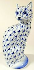 "Andrea by Sadek Blue Hand Painted Fish Net Pattern Porcelain 7 1/2"" Cat Figurine"