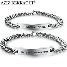 Customized Bracelet Stainless Steel Women Men Couple ID Name Bangle Bracelets