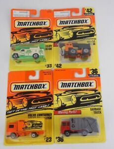 Lot of 4 Matchbox 1/64 Garbage #36 Mobile Crane #42 Utility #33 Volvo Truck #23