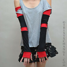 Extra Long Black Red Striped Cotton Arm Warmers Gloves Patchwork Warm Elbow 1012