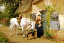 Oil painting Holmes George - The Visitor Young woman with horse and dog canvas