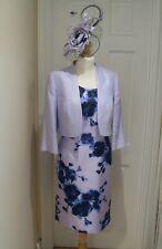 16 Satin Dress Bolero Jacket Jacques Vert Fascinator Mother of Bride Lilac Navy