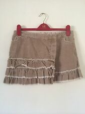 TOPSHOP  Tall Light Tan Corduroy Distressed Frayed Tiered Wrap Skirt UK 12