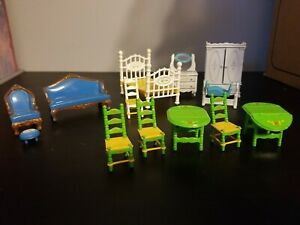 Vintage 1980s Mattel The Littles Metal Diecast Dollhouse Furniture Lot 13 Pieces