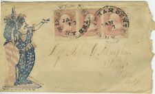 US, #64B ROSE PINK Strip of 3 on PATRIOTIC COVER with PF certificate