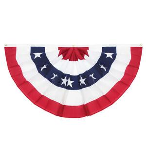 ANLEY USA Pleated Fan Flag 1.5x3 Feet American US Bunting Flags Half Fan Banner