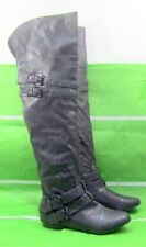 new ladies Black Long Sexy round toe side silver buckles Over Knee Boots Size 8
