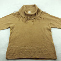 Chico's 1 (Women's Size 8) Cowl Neck Pullover Sweater Light Brown 3/4 Sleeve