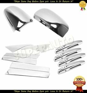 For 2014-2018 Chevrolet Impala CHROME Door Mirror+pillar+handle w/ 4 SM KH