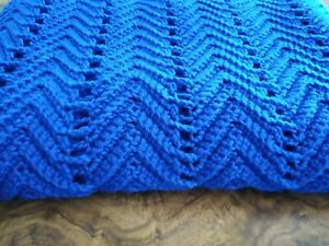 "Handmade NEW Crochet Royal Blue Fancy Ripple 50""x70""  Large Afghan Throw Blanket"