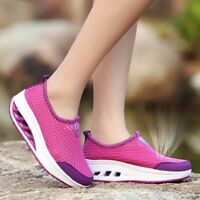 Women Mesh Breathable Slip On Athletic Platform Casual Sport Shake Shoes Trainer