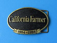 CALIFORNIA FARMER Solid Brass Belt Buckle USA MADE Vintage Oval 1984 1854 Jadco
