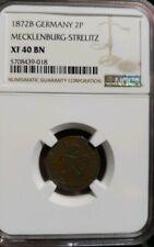 1872 B Germany 2 Pfennig MECKLENBURG-STRELITZ NGC XF 40 BN