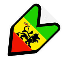## JDM WAKABA BADGE RASTA RASTAFARI Car Decal Flag not vinyl sticker ##