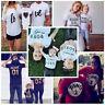 Hot Family T-shirt Parent-child Print Crew Neck Short Sleeve Tops Mom Dad Tee