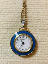 "Costume Jewelry Blue PocketWatch Necklace CHATEAU Gold Tone 24"" Long Pre-Owned"