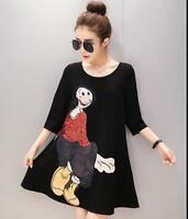 Women's Dress Embroidery Dress Casual S-3XL Mid Long Sleeve Skirt Black @