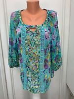 New Directions Blouse Top  polyester  floral pull over  L large