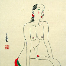"Chinese painting nude girl 16x16"" naked lady belle watercolor art free postage"