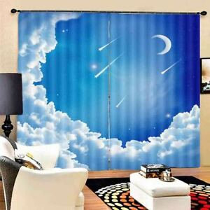 Moon White Cloud Sky 3D Curtain Blockout Photo Printing Curtains Drape Fabric