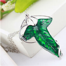 Retro Lord of The Rings Green Leaf Elven Pin Brooch Pendant Chain Necklace Gift