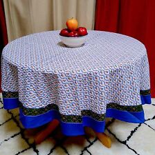 "Handmade 100% Cotton Floral Vine 72"" Round Tablecloth Blue Green"