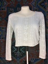 Forever 21 Women's Loose Fit LongSleeve Florl White See Through Knit Top Sz L/G