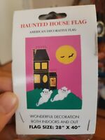 NOS Vintage Halloween House Flag Featuring Haunted House And Ghosts